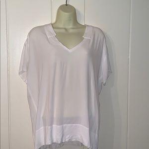 CAbi white short sleeved blouse